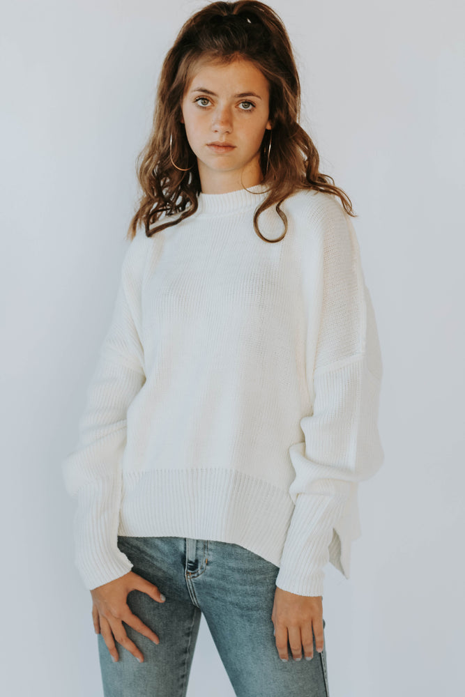 Gigi Mock Neck Sweater (Cream)