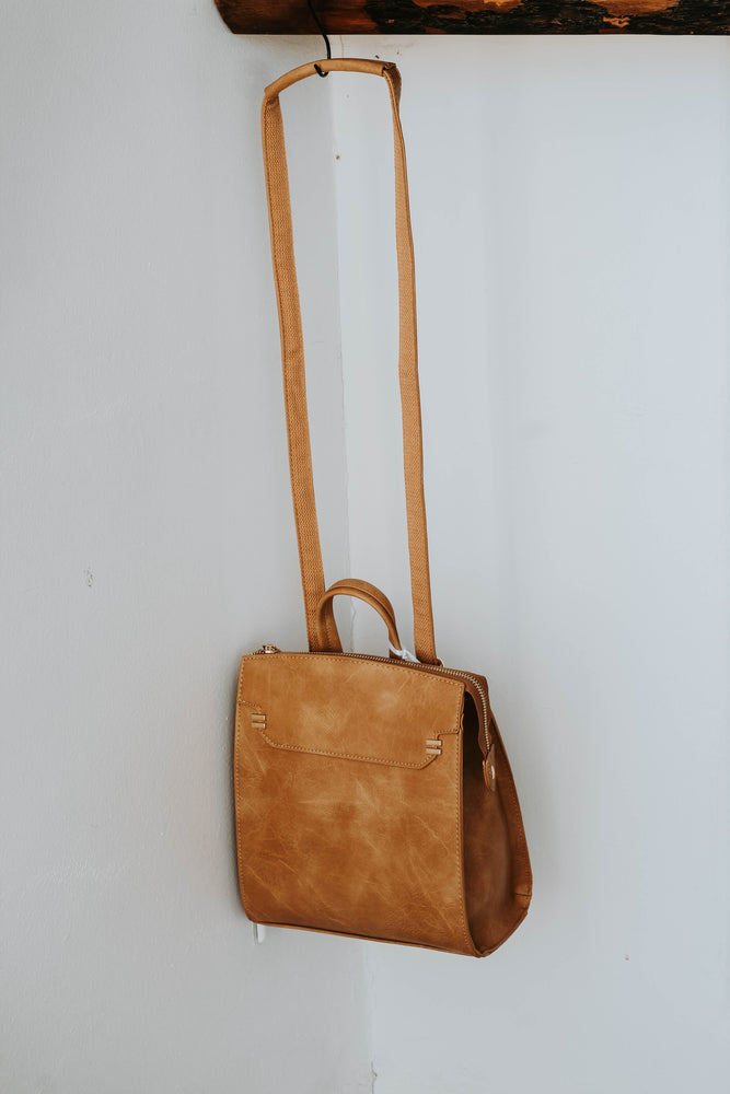 Ellie Modern Convertible Backpack (Camel)- RESTOCKED