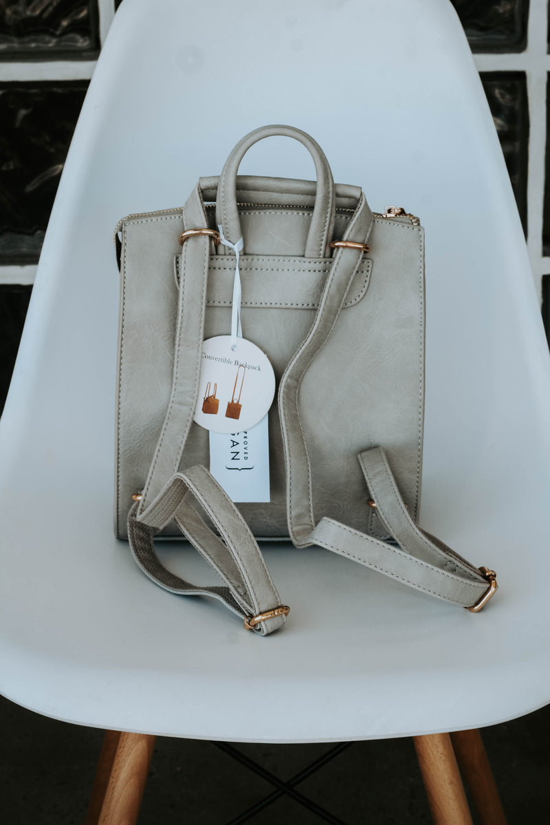 Ellie Modern Convertible Backpack (Stone)