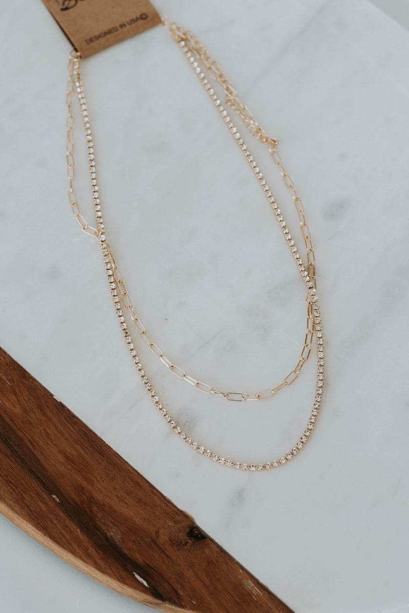 Simple Crystal Multi Strand Necklace