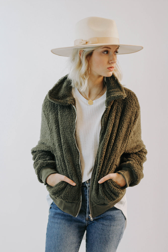 Olive You Sherpa Jacket