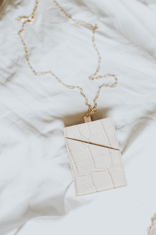 Vegan Leather Card Case Necklace