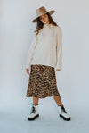 Brooke Leopard Satin Skirt