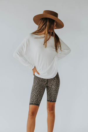 High Rise Leopard Biker Shorts
