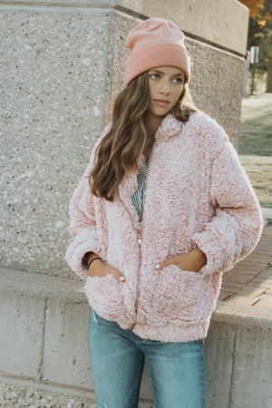 Lizzie Teddy Coat (Mauve)