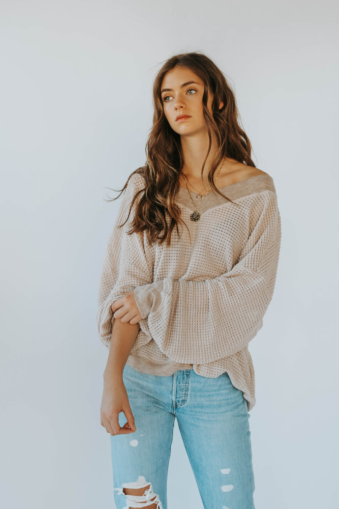 The Best Time Waffle Knit Sweater