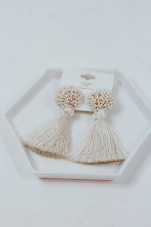 Extra Beaded Fringe Earrings (Ivory)