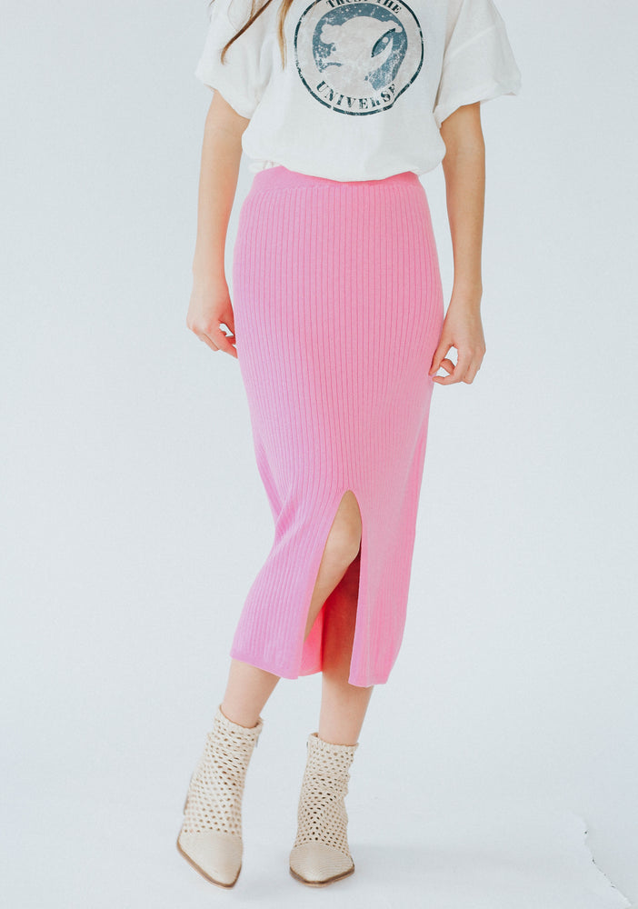 Free People: Skyline Midi Pink Skirt