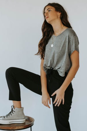 Sweat Grey Crop Pullover