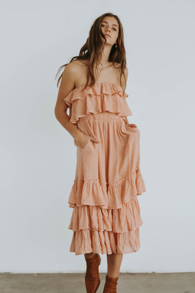 Warehouse Sale Long Listicle Ruffle Dress (Rose)