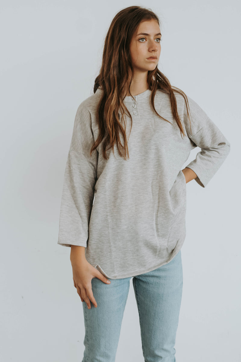 Warehouse Sale Grey Henley