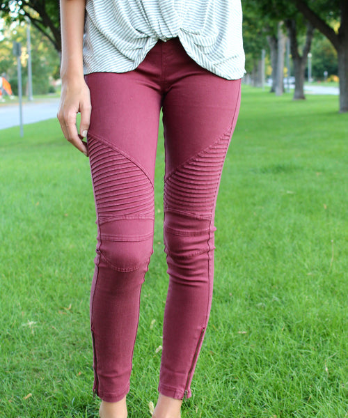Chicago Moto Legging (Wine)
