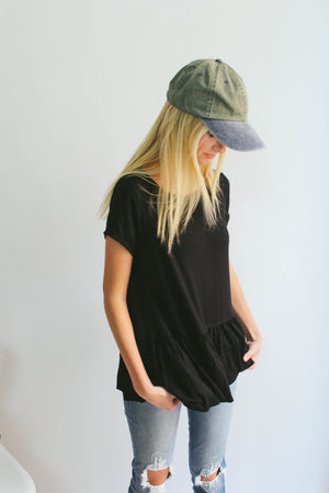 Cherish Peplum Tee (Black)