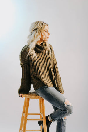 Olive Turtleneck Sweater