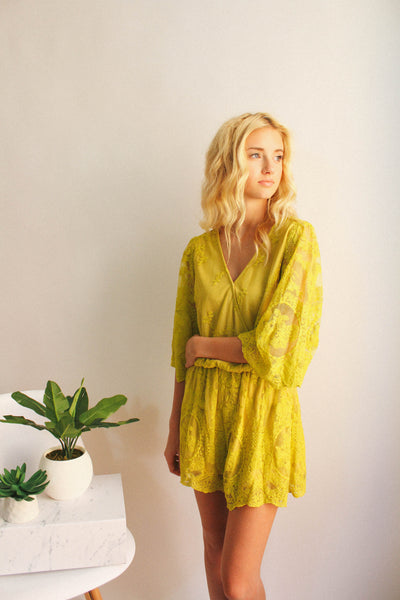 Down By The Lace Romper (Mustard)