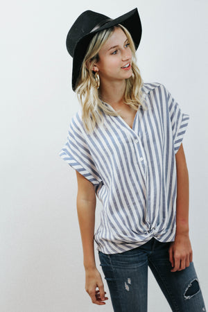 WP Stripe Blue Button Up