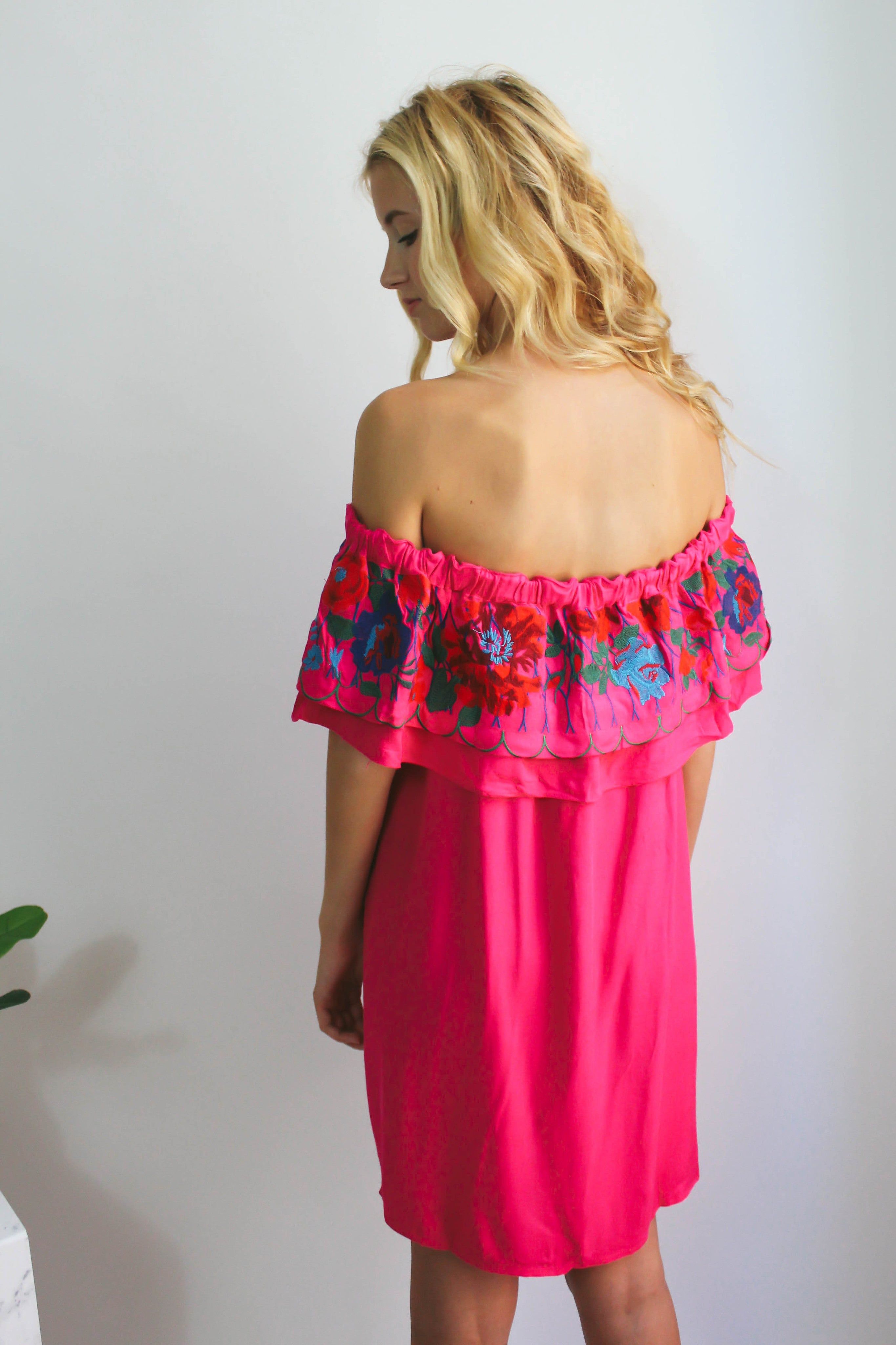 Sunset Floral Embroidered Dress