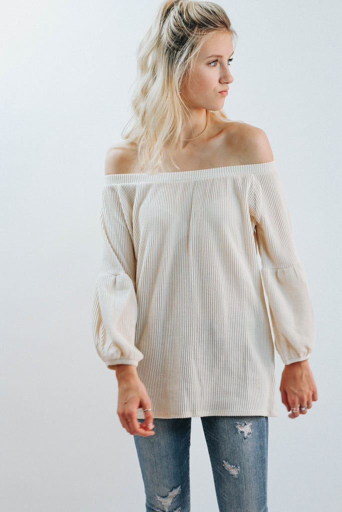 WP So Simple Balloon Off The Shoulder Top