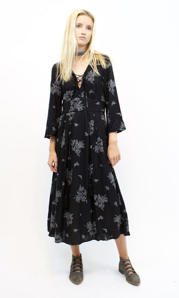 Lucille Black Lace Up Dress