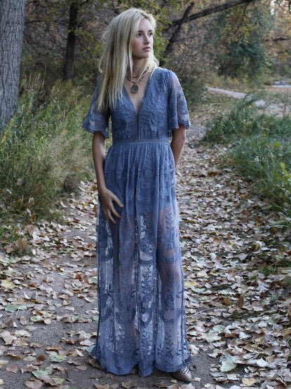 Chloe Maxi Lace Dress [Dusty Blue] PRE ORDER 5/20