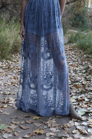 Chloe Maxi Lace Dress [Dusty Blue] 8/31