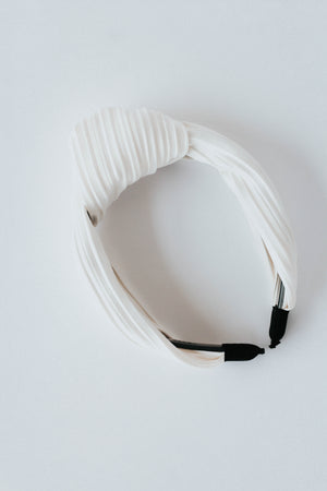 Ribbed Turban Headband (White)