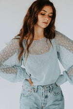 Free People: Crystallized Sweater in Light Blue