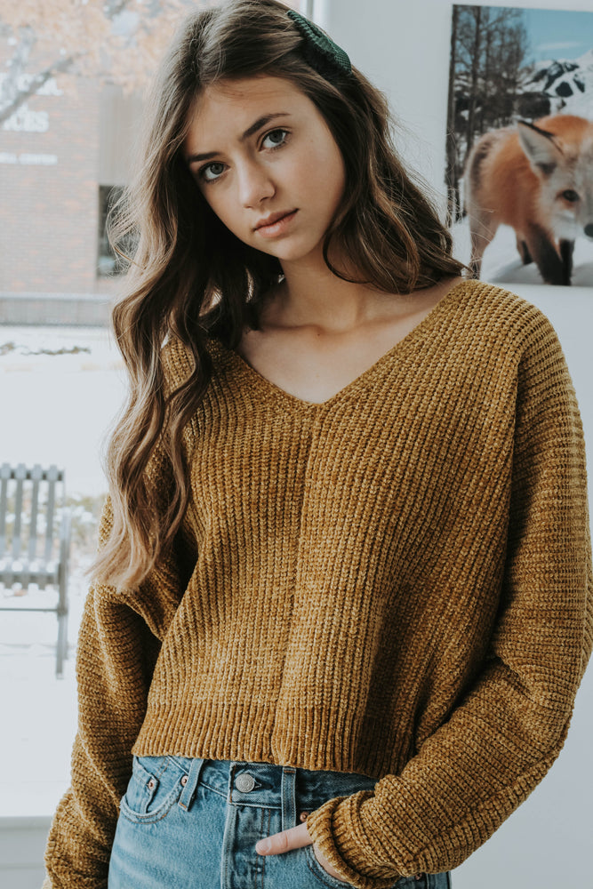 Black Friday 19: Mustard V-Neck Chenille Sweater