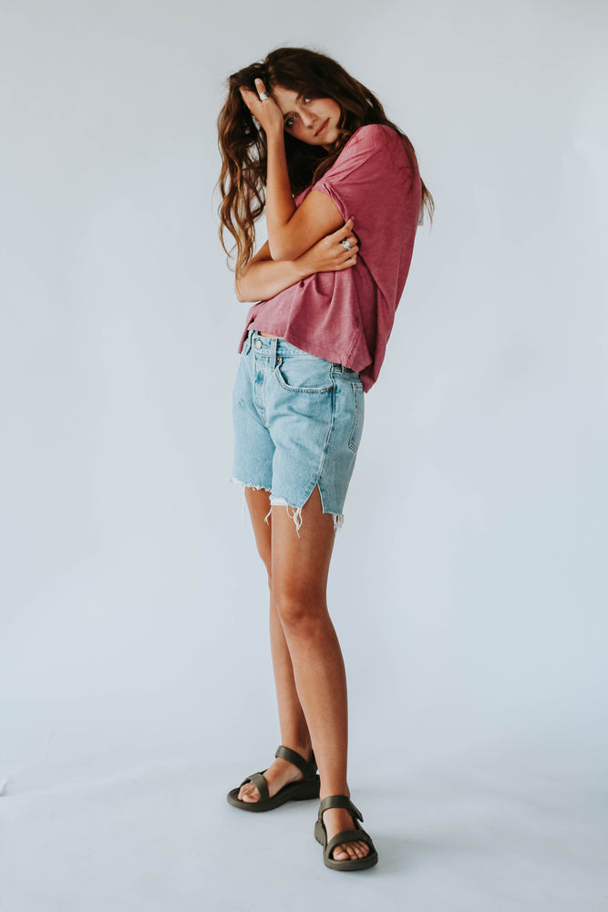 Free People: You Rock Tee in Raspberry