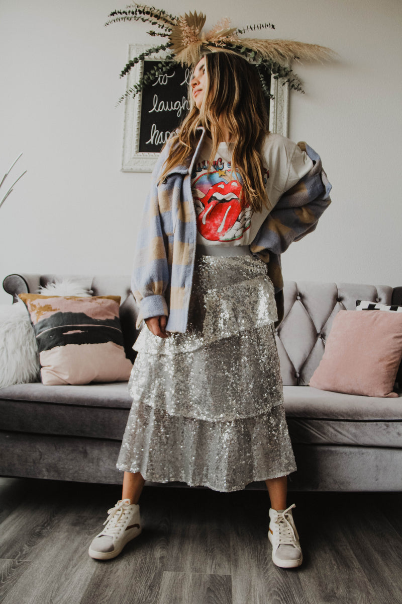 Ashley Tiered Sequin Skirt