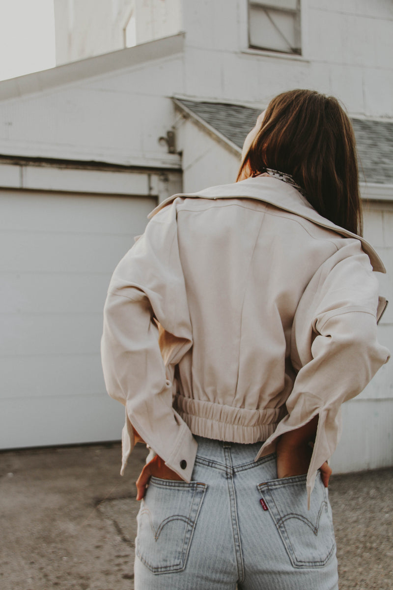 Rivalry Suede Moto Jacket in Nude