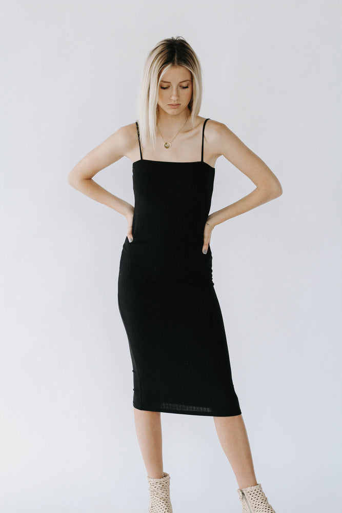 HH: Black Bodycon Midi Dress