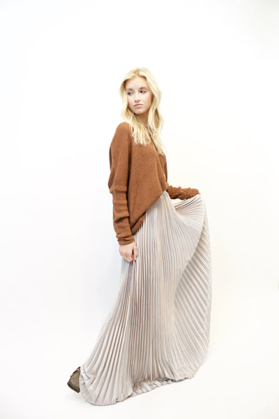 Tongue Tied Silver Maxi Skirt