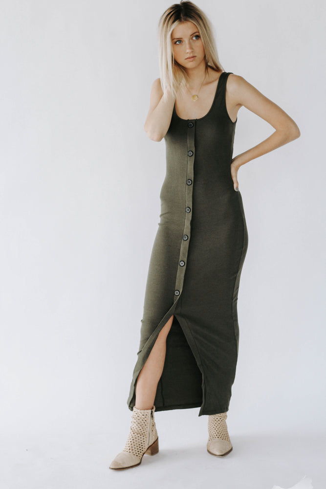 HH: Olive Button Down Maxi