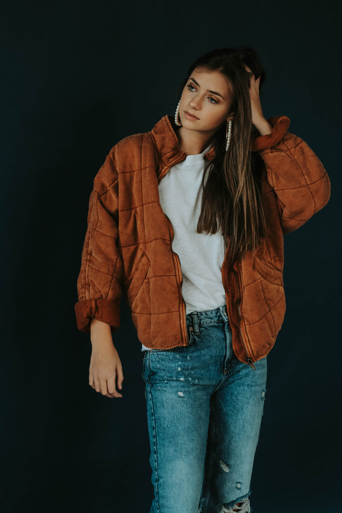Free People: Dolma Quilted Jacket (Terracotta)