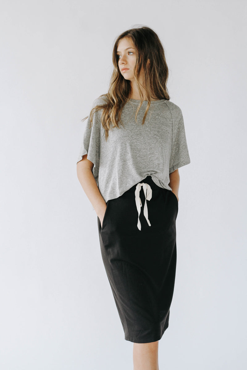 East Coast Jersey Midi Skirt (Black)