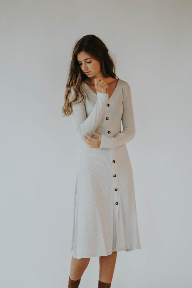 Get Obsessed Button Down Dress (Milky Lavender)