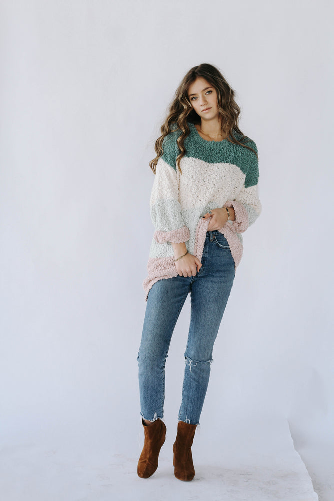 Sage Color Block Sweater