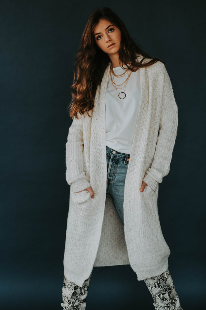 Cozy Casual: White Oatmeal Cardigan