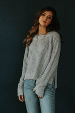 Cozy Casual: Grey Waffle Knit Sweater