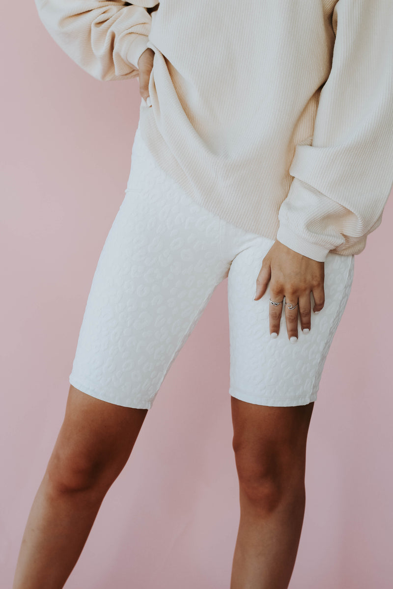 White Cheetah Biker Shorts