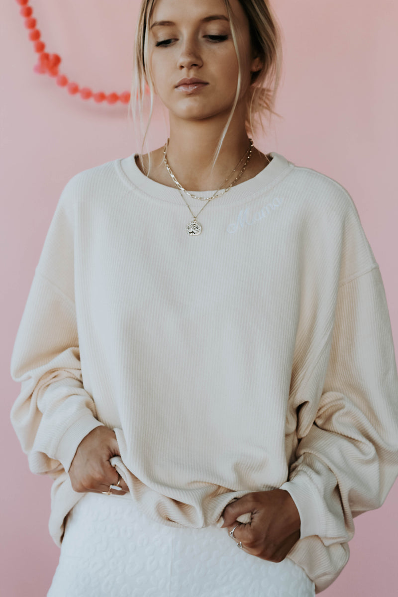 Mama Neck Embroidered Cord Pullover