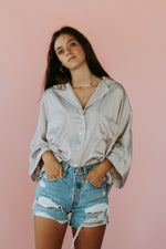 Easton Button Down Top (Mink)- RESTOCK ITEM