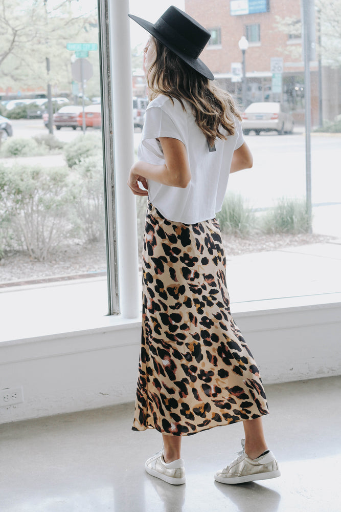 Here For It Leopard Satin Skirt (Ships August 30th)