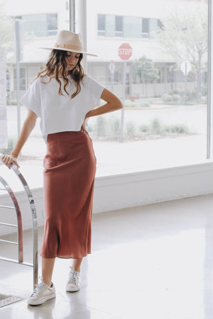 Call On Me Satin Skirt (Marsala)