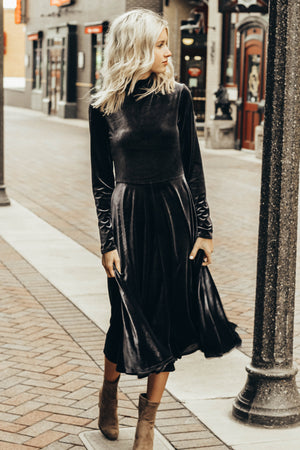 The Festive Mock Neck Velvet Dress