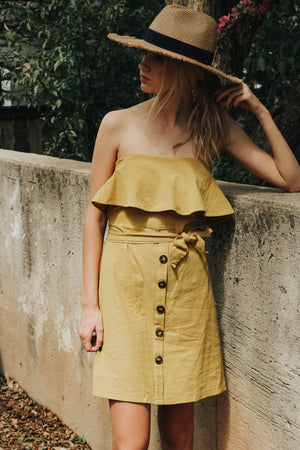 Golden Hour Ruffle Button Down Dress