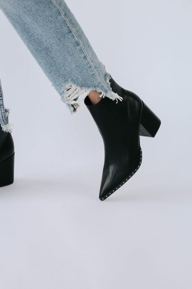Studded Black Point Booties