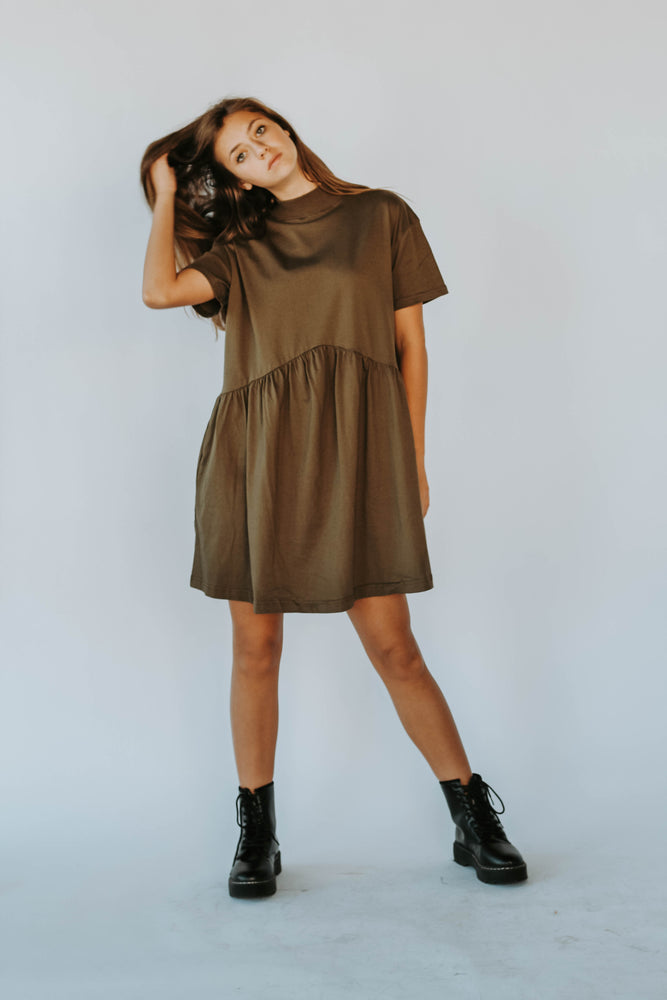 Emma T-Shirt Mock Neck Dress