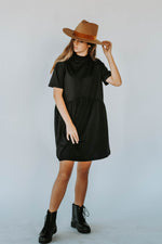 Emma T-Shirt Mock Neck Dress (BLACK)